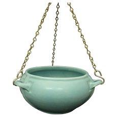 Circa 1910 Roseville Matte Green Hanging Basket #3645-5