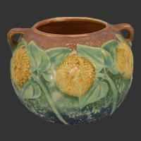 Roseville Sunflower #213-4 Double Handled Pot Vase Circa 1930