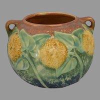 Roseville Sunflower #213-4 Double Handled Pot Vase Circa 1930