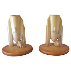 Pair Deco Ixia Roseville Pottery Candle Holders Candlesticks 1126 – 4 1/2