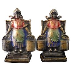 Little Dutch Milkmaid Cast Iron Bookends by Art Colony Industries Circa 1928