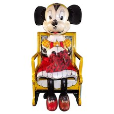 1950's Disney Tin Litho Minnie Mouse Knitting In Rocking Chair Wind-Up Toy