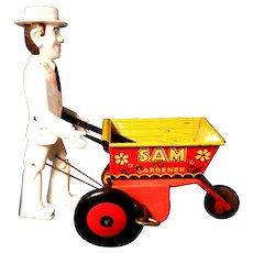 Marx Tin Litho Vintage Sam The Gardener Tin Wind-Up