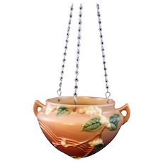 Roseville Pottery Snowberry Hanging Basket 1HB-5