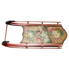 Antique 19th Century Wooden Snow Sled with a Flower Decoration