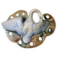 Weller Pottery Muskota Swan 9 Hole Flower Frog Circa