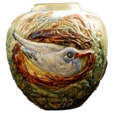 Weller Pottery Glendale Nesting Bluebird Vase