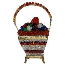 Czech Czechoslovakia Glass Fruit Basket Beaded Lamp