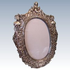 """Large 13"""" Vintage Sterling Silver Repousse Figural Picture Frame"""