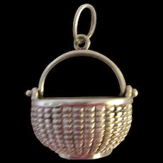 "Big Vintage 7/8"" Sterling Silver Glenaan Nantucket Basket Pendant Handcrafted Artist Signed"
