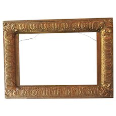 "Antique Gold Gilt Fits 11""x 17"" Picture Frame Ornate Wood Gesso 1870"