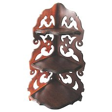 Antique Victorian Carved Walnut Fretwork Curio Shelf Corner Display Gingerbread
