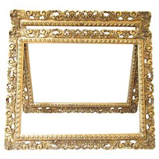 Rare Pair of Antique Hand Carved Gold Gilt Italian Rococo Revival Picture Frames