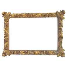 Antique Gold Gilt Gesso Wood Rococo Picture Frame Deep Relief Italy