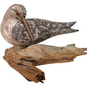 Large Vintage Hand Carved Folk Art Shorebird Signed Monk Painted Glass Eyes Massachusetts