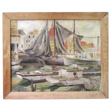 Vintage Original Oil Painting After Gruppe Fishing Harbor Sailboat Schooner Nautical 1930 Framed Signed