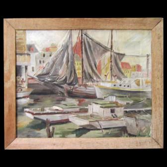 Vintage Original Oil Painting After Gruppe Fishing Harbor Sailboat Schooner Nautical 1930 Framed Signed