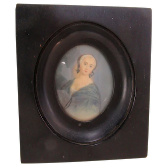 Antique Miniature 18th Century Portrait of Beautiful Lady Signed Framed Country