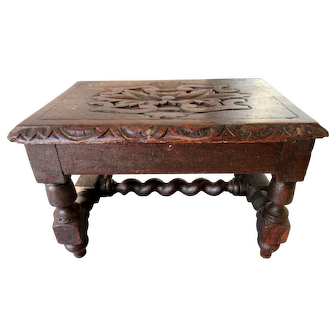 Petite Antique Hand Carved French Footstool Barley Twist Oak Stool