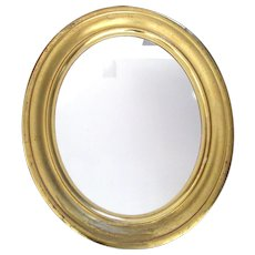 """Big 26"""" Antique Gold Gilt Oval Wood and Gesso Mirror Picture Frame"""