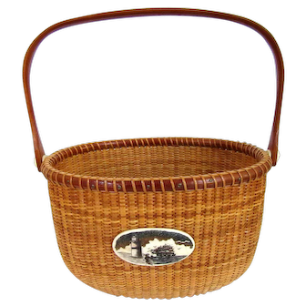 Vintage Nantucket Basket Oval Cherry Swing Handle Faux Scrimshaw Cape Cod