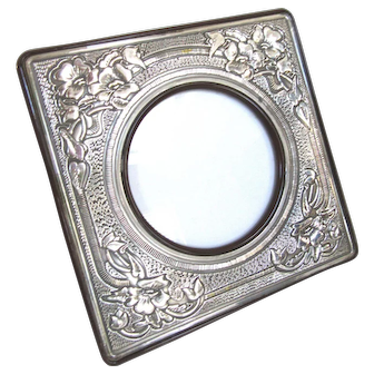 """Big 9"""" Vintage Sterling Silver Picture Frame Floral and Geometric Repousse Made in Italy"""