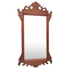 Antique 19th Century Tiger Maple American Chippendale Mirror Wood Carved
