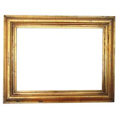 Authentic American Empire Picture Frame Gold Gilt Wood and Gesso