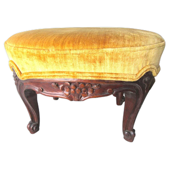Petite Antique Hand Carved French Footstool Walnut Stool