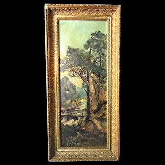 Antique Victorian Original Oil Painting Ornate Wood Gesso Frame Landscape