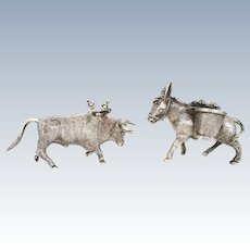 2 Vintage Sterling Silver Tooth Pick Match Holders Miniature Donkey and Bull Figural 925