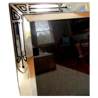"""Big 10.5"""" Art Deco Lacquer Sterling Silver Picture Frame Easel Back 1930"""