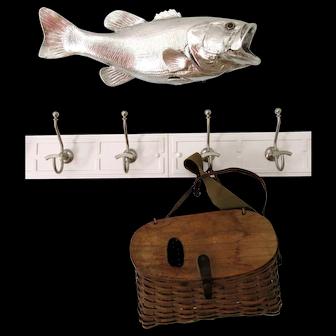 Rare Vintage Splint Fishing Creel New England Patina Fly Freshwater Basket
