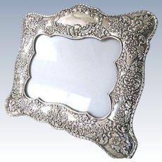 "Big Ornate 10.5"" Sterling Silver Picture Frame Easel Back Floral Foliate Repousse 925 Vintage"