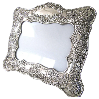 "Big Ornate 10.5"" Sterling Silver Picture Frame Easel Back Floral Foliate Repousse 925 Vintage"
