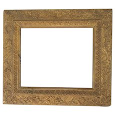 """Antique Victorian Aesthetic Movement Gold Picture Frame Fits 10"""" x 12"""" Picture Ornate Wood & Gesso"""