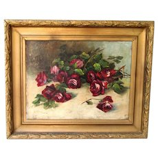 """Big 26"""" Antique Victorian Still Life Oil Painting Gold Wood & Gesso Picture Frame Signed"""