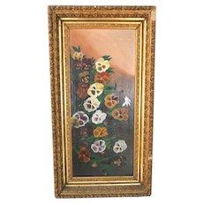 "Big 29"" Antique Victorian Oil Painting Pansies Gold Gilt Picture Frame Folk Art"