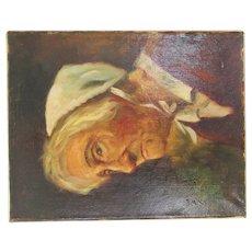 Vintage Original Puls Dutch Portrait Oil Painting Signed Canvas Old Woman