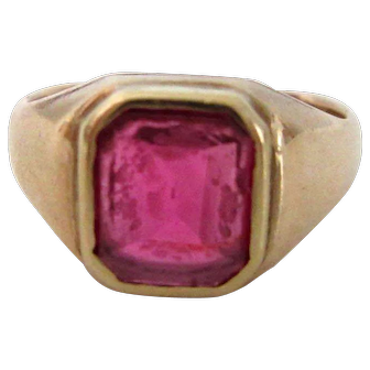 10kt Yellow Gold Mens Vintage 1950's Ring Size 8 Lab Ruby
