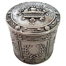 Antique Victorian Hand Chased Continental Pill Snuff Box Repousse Sterling Silver Hinged
