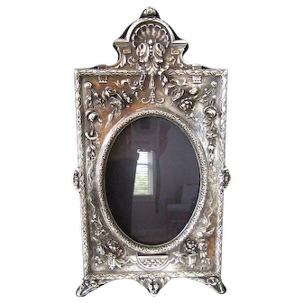 "Large 12"" Ornate English Sterling Silver Picture Frame Easel Floral Vintage"