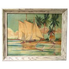 Big Vintage 1925 Nautical Maritime Oil Painting Signed Framed Sail Boat Tropical Seascape