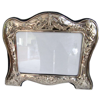 Vintage Sterling Silver Picture Frame with Repousse Angels