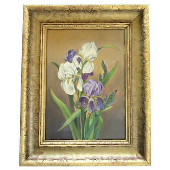 Antique Victorian Original Oil Painting Iris Flower Gold Gesso Wood Picture Frame Folk Art