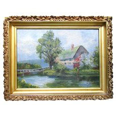 Antique English Thatched Cottage Farmhouse Original Oil Painting Gold Rococo Wood Picture Frame Signed Folk Art