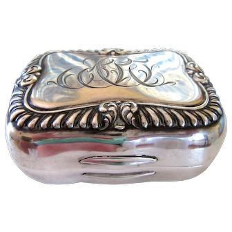 Big Antique Gorham Sterling Silver Soap Box Repousse Travel