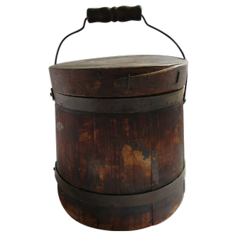 "Small 6.5"" Top of the Stack Wood Firkin Sugar Bucket Box Country Primitive"