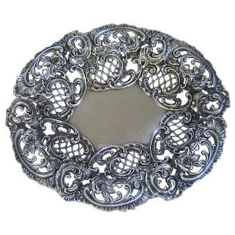 Antique Victorian Sterling Silver Pierced Ornate Nut Bon Bon Candy Bowl Roses Scrolls Lattice