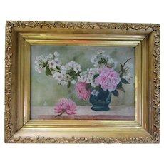 Antique 1895 Folk Art Still Life Oil Painting Signed Gold Wood Gesso Picture Frame Original